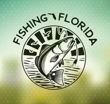 Vintage Red Drum Fish Emblems. Sciaenops Ocellatus Labels. Vector Illustration.
