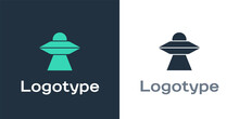 Logotype UFO Flying Spaceship Icon Isolated On White Background. Flying Saucer. Alien Space Ship. Futuristic Unknown Flying Object. Logo Design Template Element. Vector.
