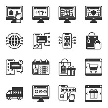 Online Shopping Icons  Vector  Illustration, Sale, Business, Payment, Delivery, Online Shop