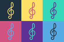 Pop Art Treble Clef Icon Isolated On Color Background. Vector.