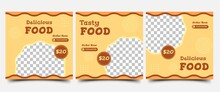 Set Of Social Media Post Template Design For Food. Promotion Square Banner Design With Photo Collage. Suitable For Social Media, Flyers, Banners, And Web Internet Ads.