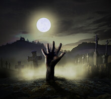 Graveyard With Hand From Grave In The Full Moonlight