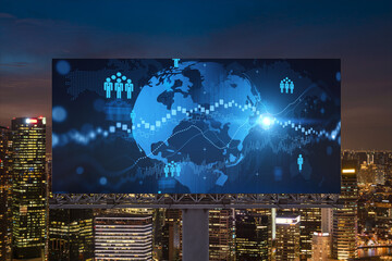 World planet Earth map hologram and social media icons on billboard over night panoramic city view of Singapore, Southeast Asia. Networking and establishing new connections between people. Globe