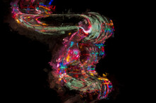 Impressionistic Style Artwork Abstract: Flow Of Colored Light Reflecting In The Blackness
