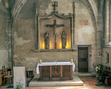 Inside A Small Romanesque Chapel In Gordes In France