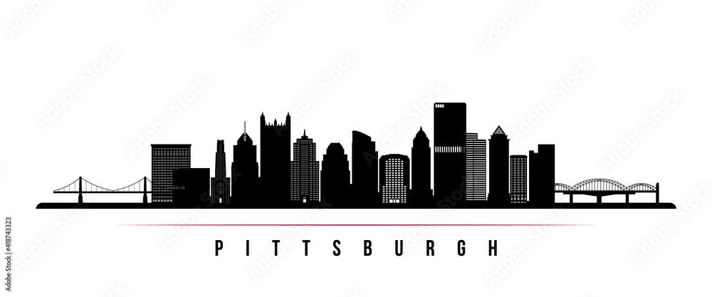 Fototapeta Pittsburgh skyline horizontal banner. Black and white silhouette of Pittsburgh, Pennsylvania. Vector template for your design.