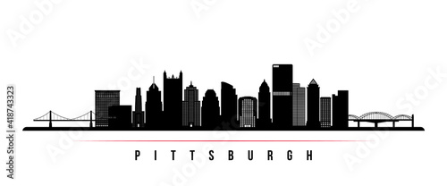 Obraz Pittsburgh skyline horizontal banner. Black and white silhouette of Pittsburgh, Pennsylvania. Vector template for your design. - fototapety do salonu