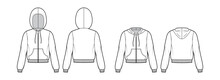 Set Of Zip-up Hoody Sweatshirt Technical Fashion Illustration With Long Sleeves, Relax Body, Kangaroo Pouch, Knit Rib Cuff, Banded Hem. Flat Template Front, Back, White Color. Women, Men CAD Mockup