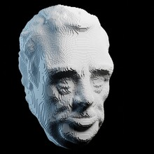 Illustration Of An Old Man's Head Created From Small White Cubes. 3D Render On Black Background