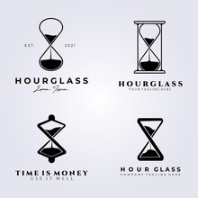 Bundle Hourglass Set Logo Vector Illustration Design