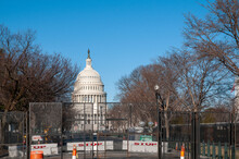 The National Capitol Building Behind Fences And Razor Wire, Washington DC, March 7th, 2021