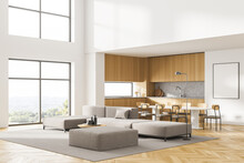 White Poster On Wall. Luxurious And Modern Interior Of Living Room. Kitchen Area With Dining Table. Panoramic Window With Garden View. Huge Couch In The Middle. 3D Rendering. Mock Up.