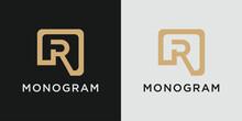 Monogram Letter R Logo Design Template With Creative Golden Concept