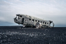 Sólheimasandur, Plane Wreck At A Black Sand Beach In Iceland With No People At Sunset