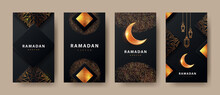 Ramadan Kareem Modern Design With Geometric Arabic Gold Pattern, Sand, Lanterns And Bright Crescent On Black Background.Template Set Of Covers, Gift Cards, Labeles, Web Banners, Social Media Stories
