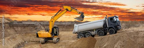 Obraz Bagger auf Baustelle - fototapety do salonu