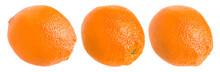 Three Whole Oranges Isolated On White Background.