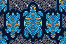 Seamless Pattern With Turtle Vector Illustration, Sea Batik Theme