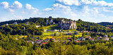 Panoramic view of medieval Ogrodzieniec Castle seen from Gora Birow Mountain royal stronghold in Podzamcze of Silesia region of Poland