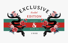 Exclusive Slogan With Black Snakes And Roses On Stripe Background Illustration