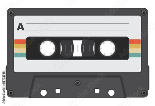 Fotografiet Retro Cassette Tape Isolated Vector Illustration