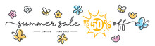 Summer Sale Up To 50 % Off Handwritten Typography Lettering Line Design Colorful Bees Flowers Butterflies Tulips Isolated White Background