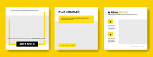 Clean Editable Social Media Layouts With Yellow Accent, Square Graphic Banners For Instagram And Facebook, Real Estate Graphic Templates For Agents