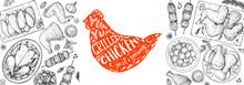 Chicken Dinner. Grilled And Fried Chicken. Hand Drawn Sketch Illustration. Grilled Chicken Meat Top View Frame. Vector Illustration. Engraved Design. Restaurant Menu Design Template.