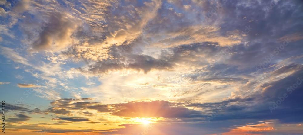 Fototapeta Dramatic colorful sky at sunset