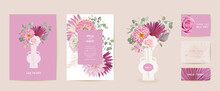 Watercolor Dahlia, Pampas Grass, Rose Floral Wedding Card. Vector Exotic Flower, Tropical Palm Leaves Invitation
