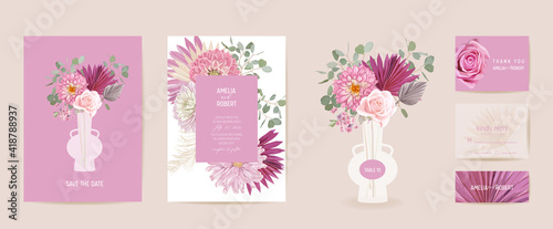 Fotografia Watercolor dahlia, pampas grass, rose floral wedding card