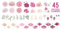 Dried Pampas Grass, Dahlia, Rose Flowers, Tropical Palm Leaves Vector Bouquets. Pastel Watercolor Floral
