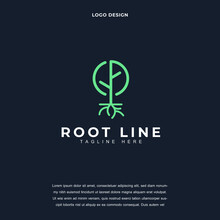 Creative Root Of The Tree Icon Logo Design Vector Illustration. Tree Root Logo Design Color Editable