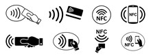 Set NFC Wireless Payment Technology Icon, Contactless Payment, Credit Card Tap Pay Wave Logo, Near Field Communication Sign, Contactless Pay Pass Fast Payment Symbol, Smart Key Card Contact Nfc