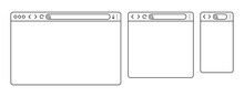 Simple Browser Window In A Flat Style, Line Design A Simple Blank Web Page, Search In Internet, Line Template Mockup Browser Window On Computer, Tablet And Mobile Phone - Stock Vector