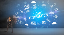 Businessman Defending With Umbrella From HOME AUTOMATION Inscription, Modern Technology Concept