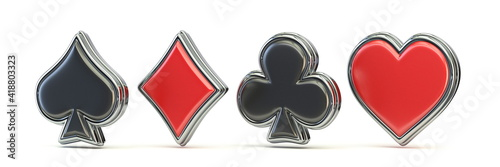 Tableau sur Toile Spade, heart, diamond and club 3D