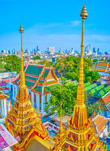The Golden Spires Of Loha Prasat Shrine, Bangkok, Thailand