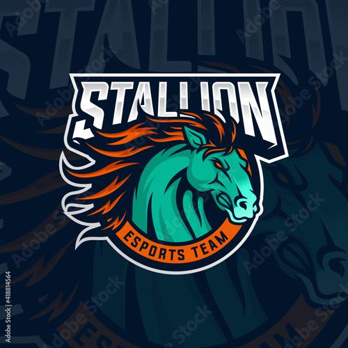 Photo Stallion Mascot Esports Vector Illustration