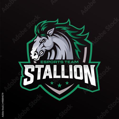 Платно Stallion Mascot Esports Vector Illustration