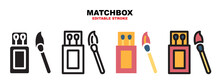 Matchbox Icon Set With Different Styles. Editable Stroke And Can Be Used For Web, Mobile, Ui And More.