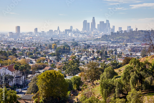 Skyline of downtown Los Angeles California from the hilltops of east LA Fototapeta