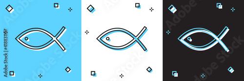 Fototapeta Set Christian fish symbol icon isolated on blue and white, black background