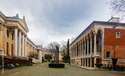 View of courtyard and buildings of museum complex of Istanbul Archeology Museums Fotobehang