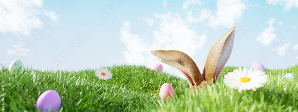 Fototapeta Easter landscape, rabbit ear with colorful eggs and daisy flower on meadow under beautiful sky. 3d rendering