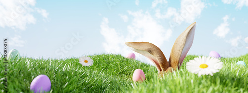 Obraz Easter landscape, rabbit ear with colorful eggs and daisy flower on meadow under beautiful sky. 3d rendering - fototapety do salonu