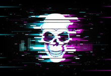 Glitch Skull Vector Distorted Neon Glowing Pixelized Cranium Or Jolly Roger On Black Background. Television Messy Distortion Or Vhs Tape Glitch Effect, Trippy Digital Art, Horror, Dead Head Smiling