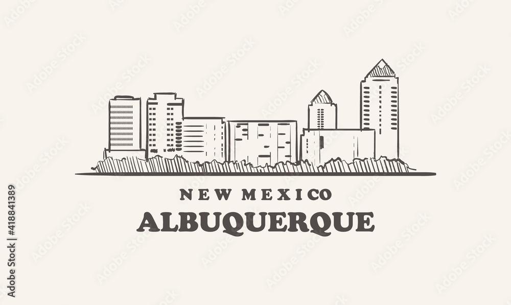 Fototapeta Albuquerque skyline, new mexico. Albuquerque  hand drawn sketch