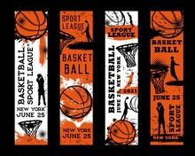 Basketball Championship, Streetball League Tournament Grungy Posters. Basketball Player Doing Slam Dunk, Throwing Ball In To Hoop Vector. Sport Ball Game Team Competition Banners With Paint Splatters