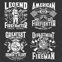 Firefighter T-shirt Print, Firefighting Department Emblem, Vector Fireman And Hydrant Icons. American Flag And Firefighter Hero With Helmet, Crossed Fire Ax And Maltese Cross For T Shirt Print Mockup